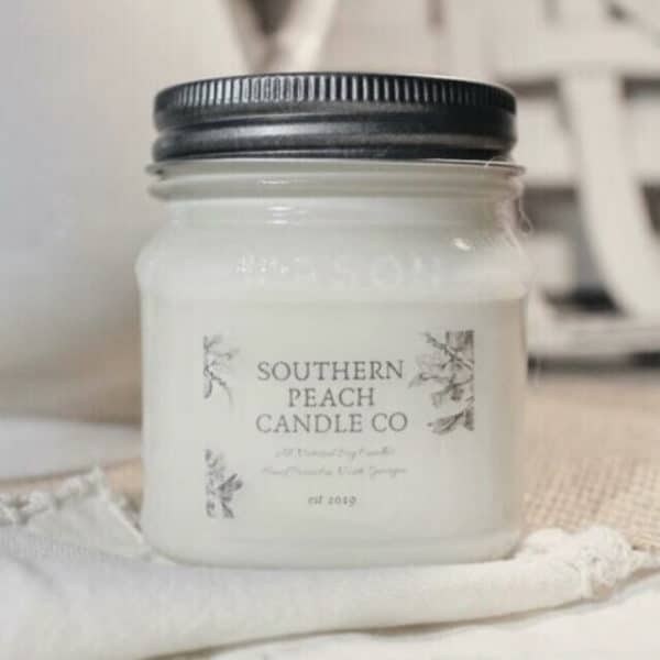 White southern peach candle co jar