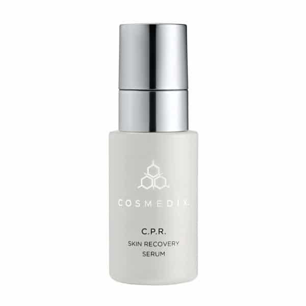 C.P.R. skin recovery serum by Cosmedix silver cap on