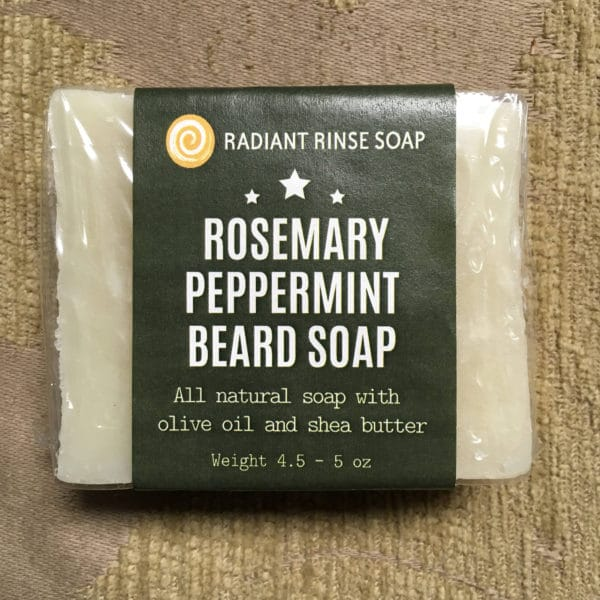Rosemary pepperming beard soap natural soap with oliv oil and shea butter by Radiant Rinse Soap